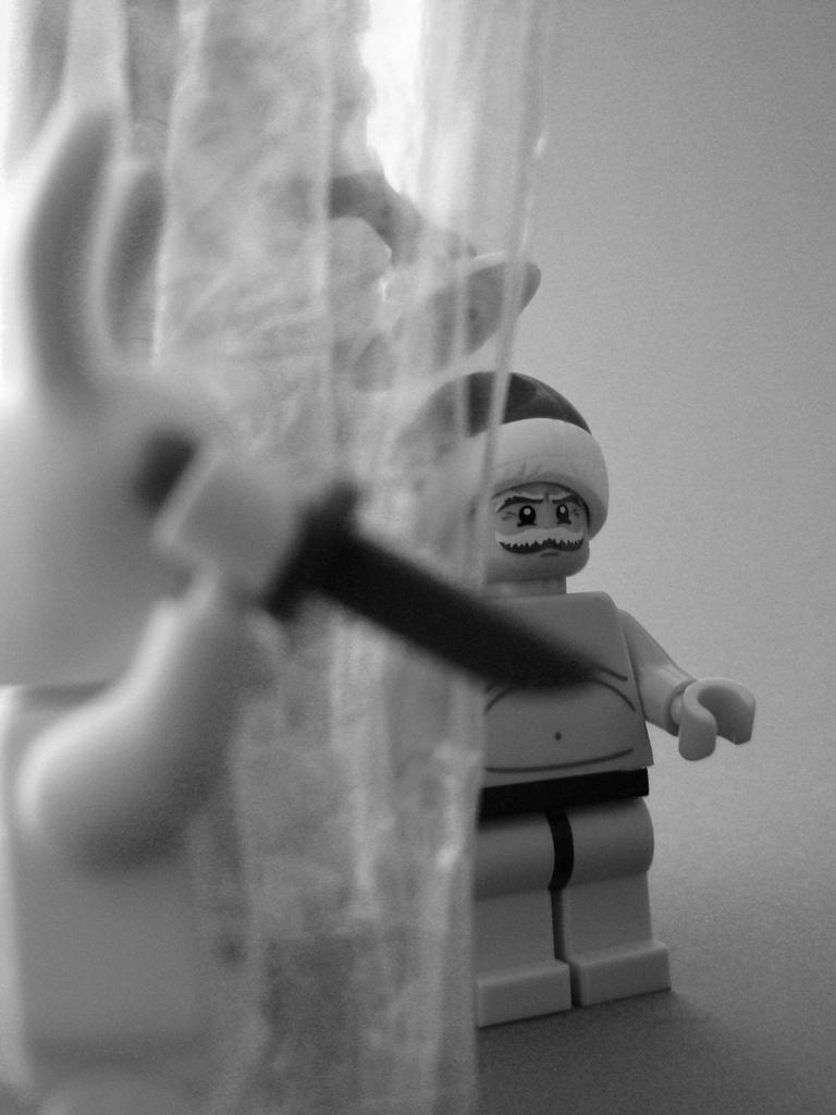 lego minifig noppenquader moc psycho weihnachtsmann osterhase psycho dusche messer