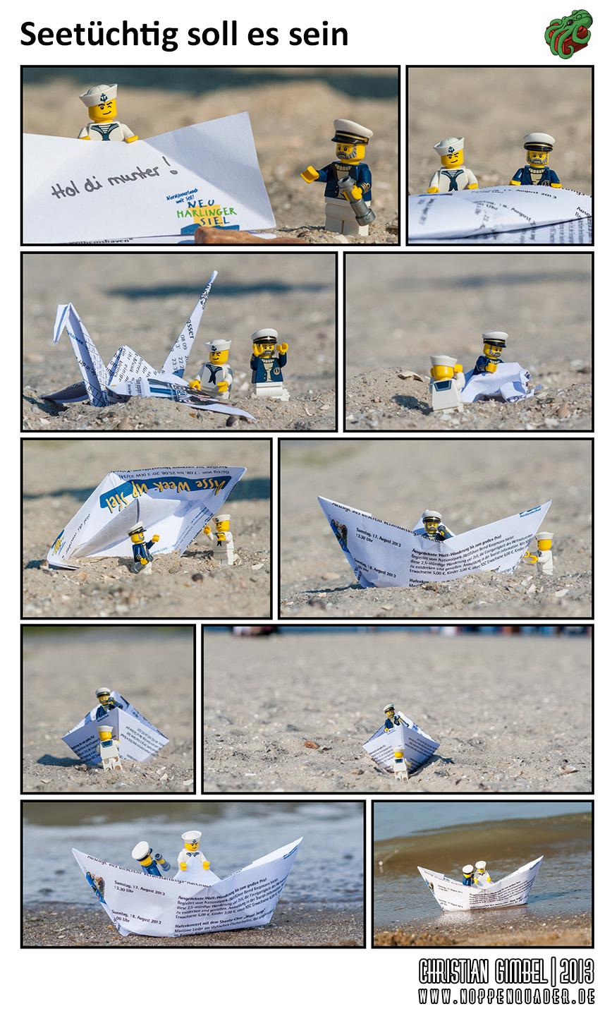 Lego Papierschiffchenbau am Strand in Ostfriesland - Artikelbild
