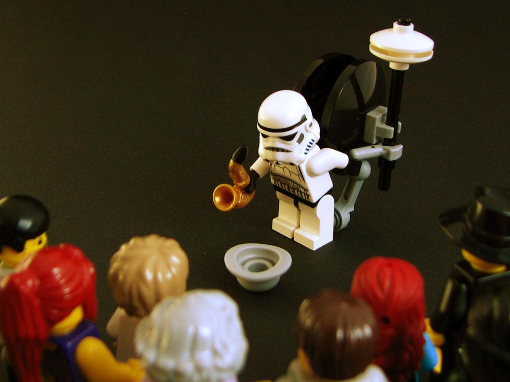 unemployed stormtrooper busker straßenmusikerlego minifig noppenquader moc