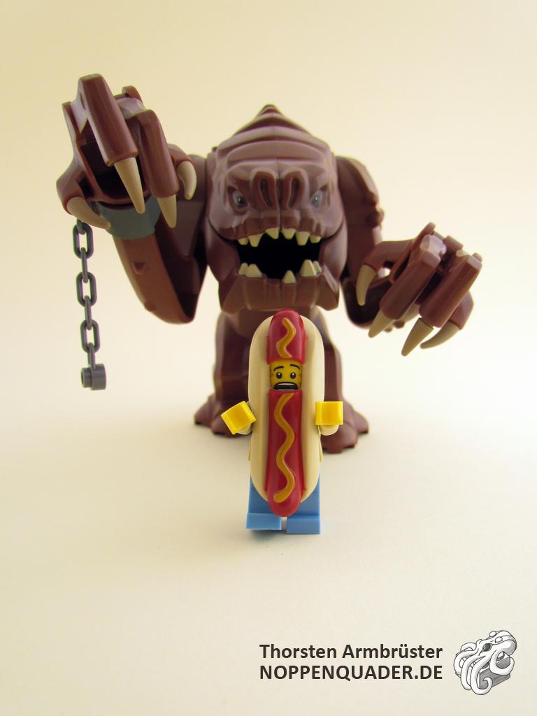hotdog, rancor, lego, noppenquader, minifigs