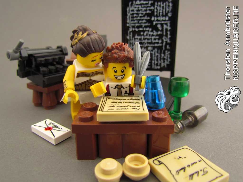 Muse, lego, writer, noppenquader, minifig, minifigs, moc, schriftsteller, Autor, kuss