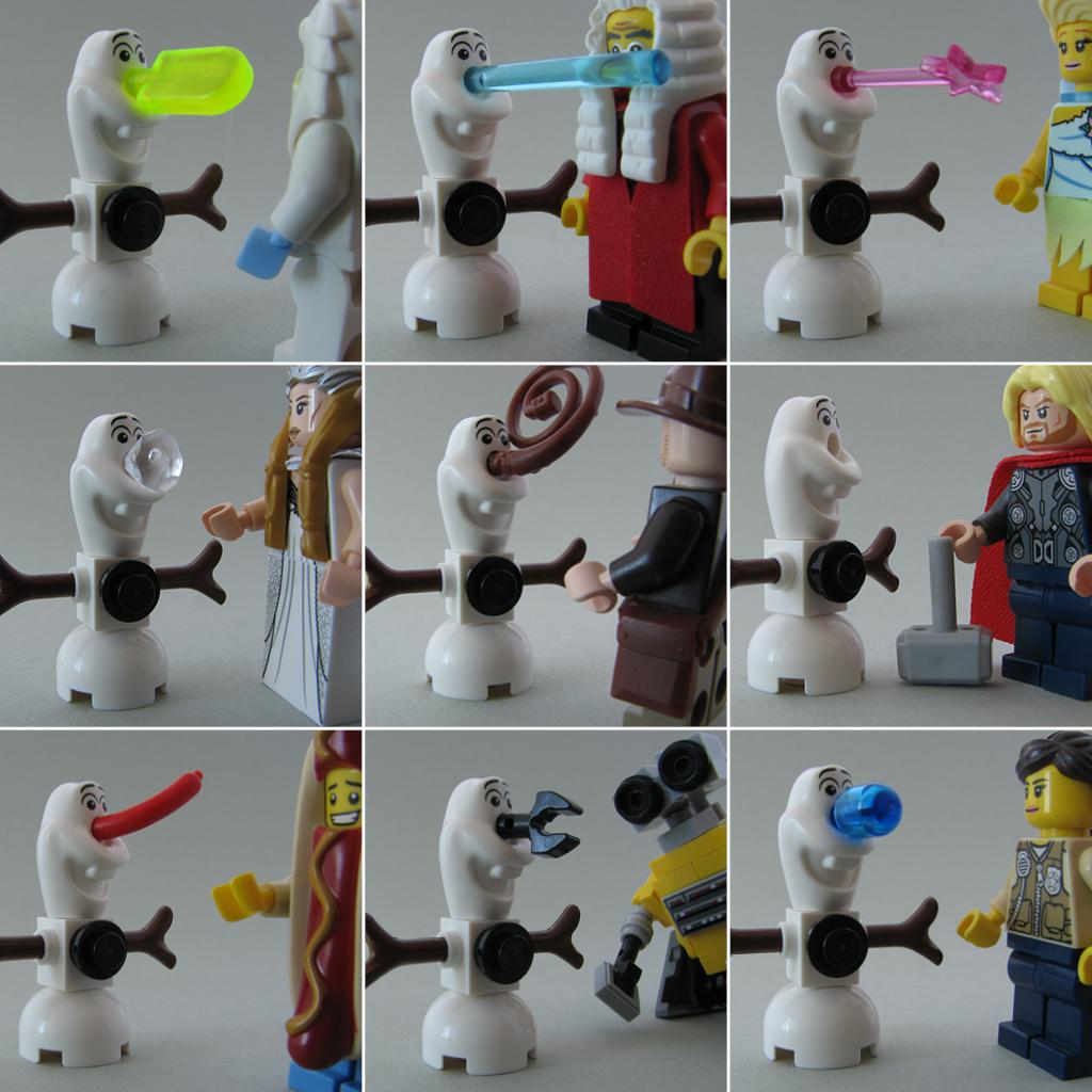 lego minifig noppenquader moc minidoll disney frozen eisprinzessin snowman olaf nose