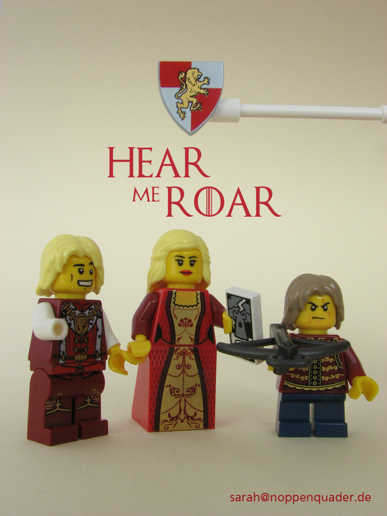 lego minifig noppenquader moc game of thrones lannister hear me roar Jamie Cersei Tyrion Lion