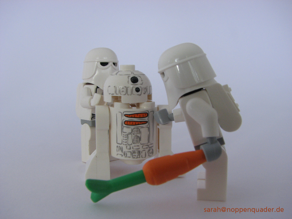 lego minifig noppenquader moc star wars stormtrooper snowtrooper hoth r2-d2 karotte snowman