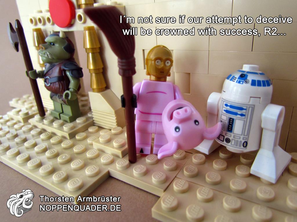 lego, star wars, rsd2, c3po, cantina, noppenquader, mimiry, verkleidung, schwein, pig, mimicry, Gamorrean, Gamorreans, Gamorreaner