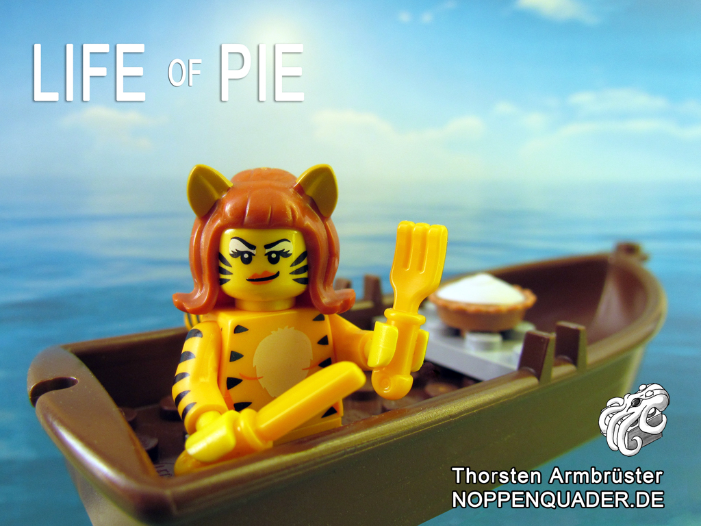 lego noppenquader pie tiger minifig minifigs torte life of pi boot wasser meer food sea moc movie