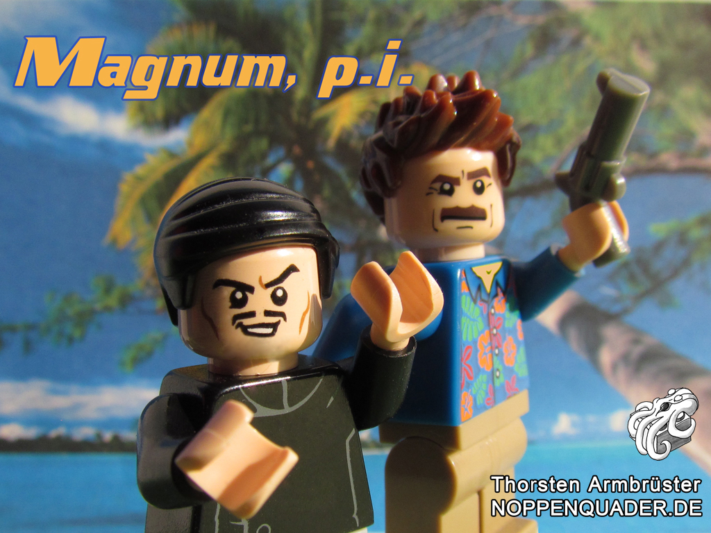 magnum p.i. hawaii higgins privatdetectiv ermittler 80er tv serie retro lego noppenquader moc minifig minifigs tom selleck