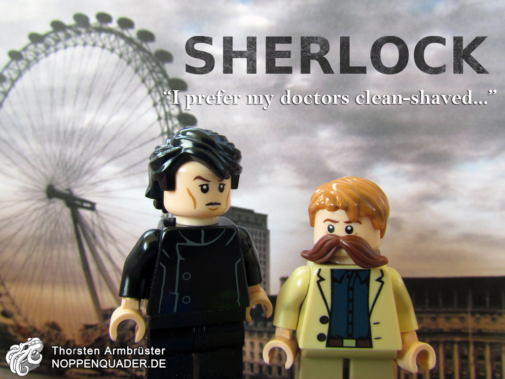 lego noppenquader  minifig minifigs moc sherlock homes watson cumberbatch freedman martin serie detektiv london bart schnurbart shave