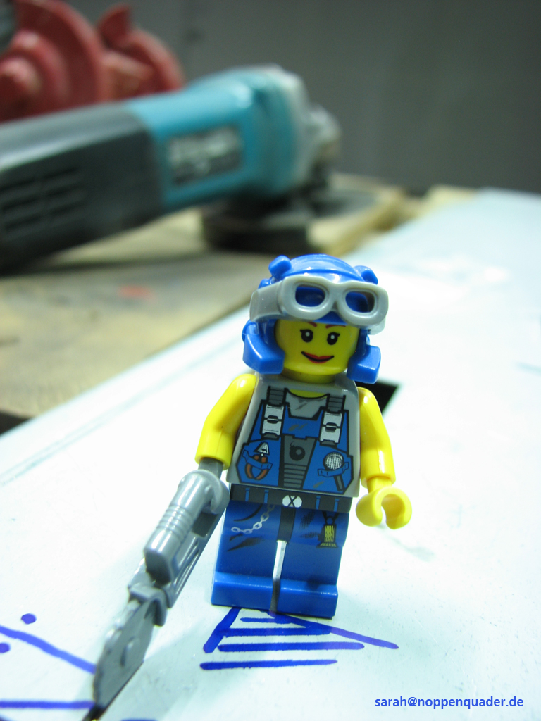 lego minifig noppenquader moc Mechanikerin Trennschleifer Flex makita