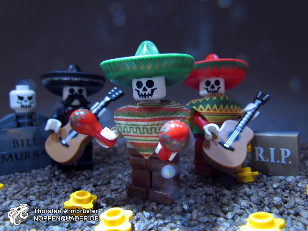 lego monster skelett dia de los muertos tag der toten halloween geister untod musik music ghosts calaveras skull moc minifig noppenquader