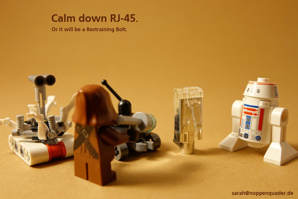 lego minifig noppenquader moc star wars jawa droid rj-45 Netzwerk