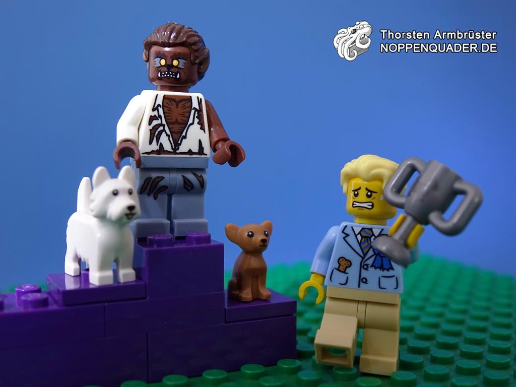 lego moc noppenquader werwolf monster hund dog hundeshow dogshow preis pokal sieger winner puppy