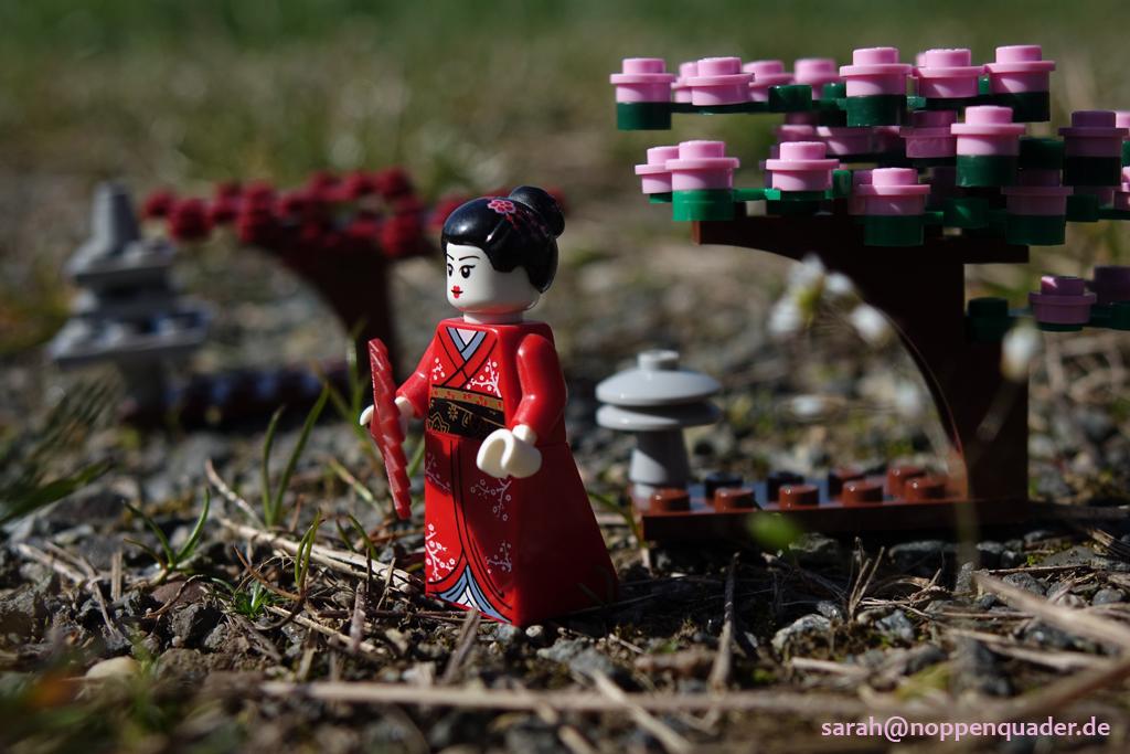 lego minifig noppenquader moc geisha japan garden garten kirschblüten 桜 芸者